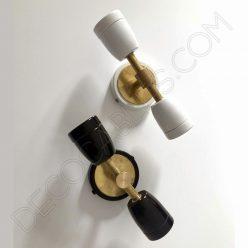 Lámpara aplique retro cerámica y latón