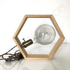 Lámpara de madera hexágono