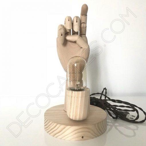 Lámpara de mesa de madera modelo mano articulada
