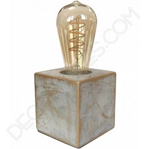 Lámpara de sobremesa base cuadrada modelo Stone en piedra