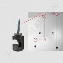 Gancho metálico para cable gris perla