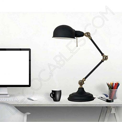 Lámpara flexo de escritorio Vintage articula negra