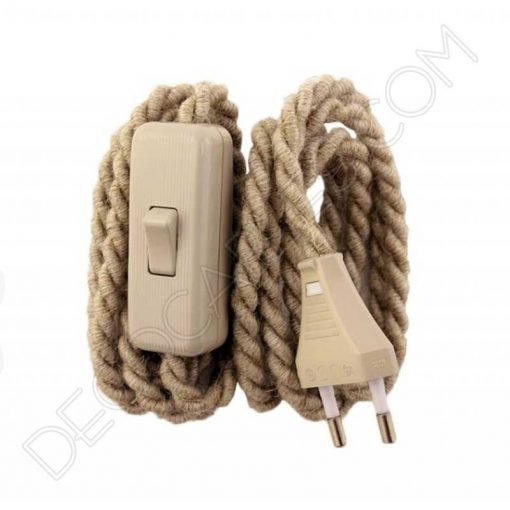 cable trenzado con interruptor y clavija gris claro