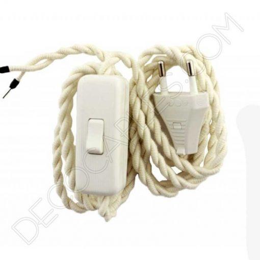 cable trenzado con interruptor y clavija blanco marfil