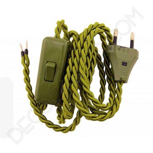 cable trenzado con interruptor y clavija verde