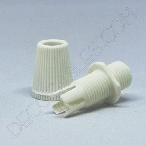 Presa cable plástico blanco