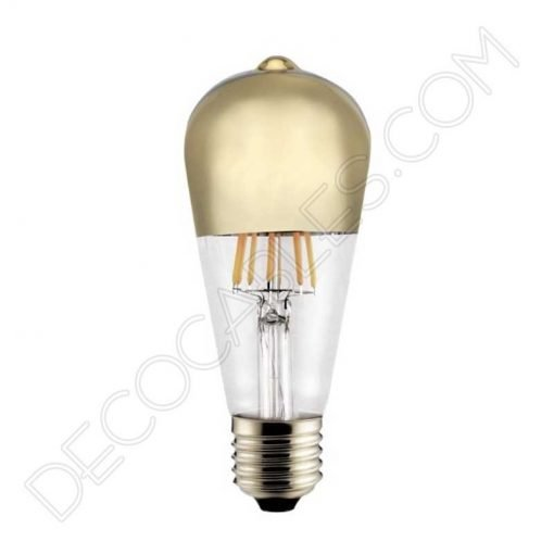 Bombilla pebetero filamento led reflectora con cúpula espejo dorada