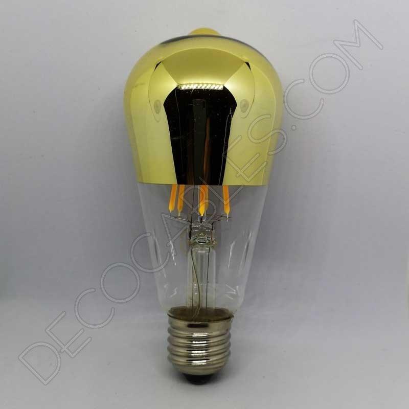 Bombilla filamento led pebetero reflectora con c pula espejo dorado - Espejo con bombillas ikea ...