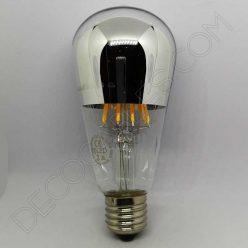 Bombilla pebetero filamento led reflectora con cúpula espejo plata