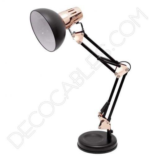 Flexo de escritorio articulable Antígona color negro y cobre