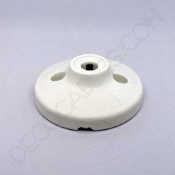 Florón cerámico pequeño blanco para soporte de lámparas