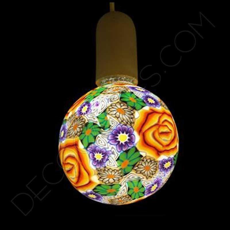 Bombilla led decorativa de silicona modelo globo casquillo E27 flor naranja