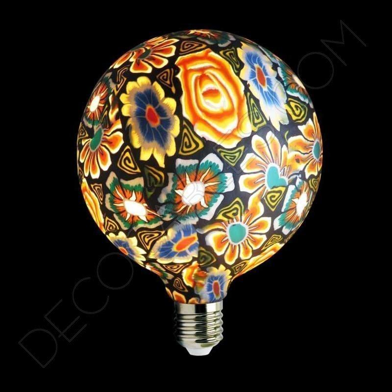 Bombilla led decorativa de silicona modelo globo casquillo E27 motivos florales con fondo negro