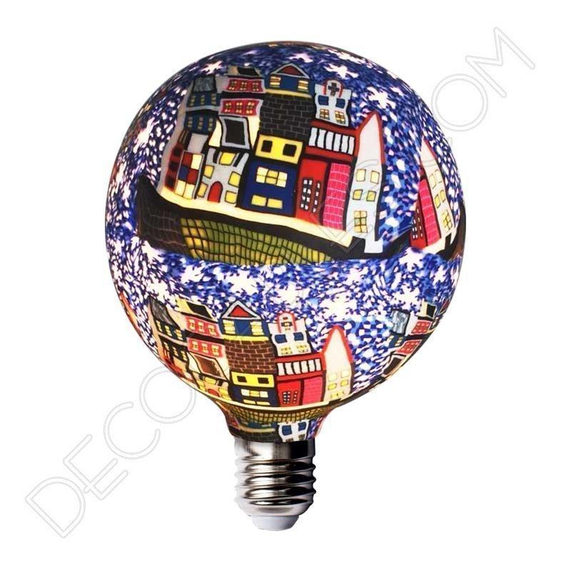 Bombilla led decorativa de silicona modelo globo casquillo E27 motivos casas