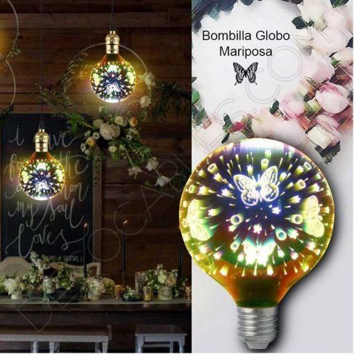Bombilla globo Led modelo mariposa 3D 4W E27 G125