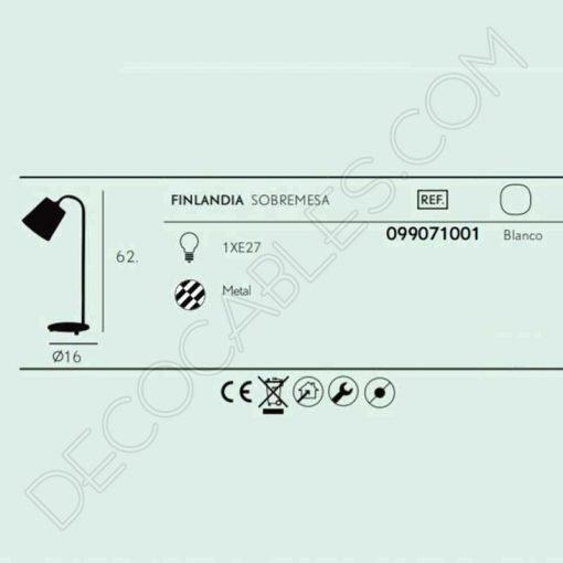 Flexo de estilo nórdico contemporáneo en color blanco modelo Finlandia 1xE27