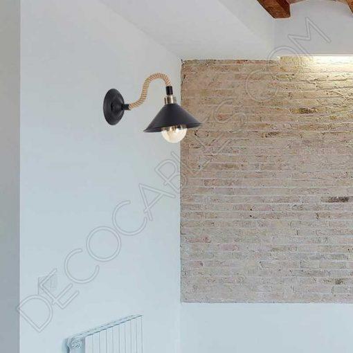 Lámpara aplique de pared rústica soga de cuerda de cáñamo vintage