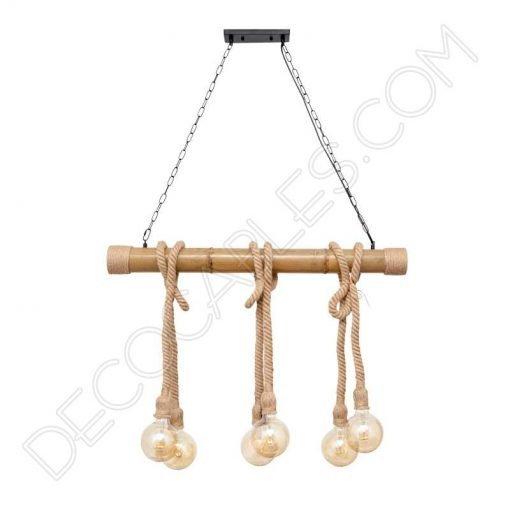 Lámpara de techo con soga de cáñamo y caña de bambú