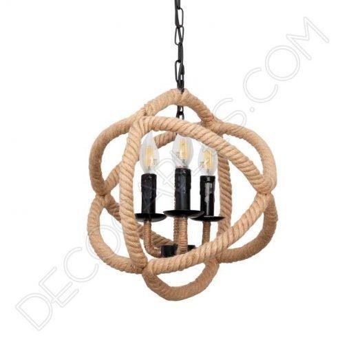 Lámpara colgante de soga de cuerda de cáñamo de forma esférica
