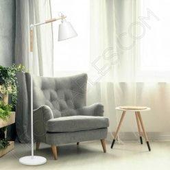 Lámpara de pie de salón de estilo contemporáneo en color blanco con brazo flexo modelo Bergen 1xE27
