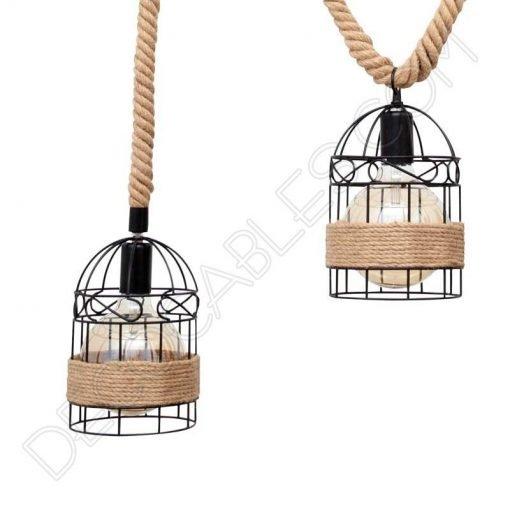 Lámpara colgante cuerda y bambú con portalámparas jaula