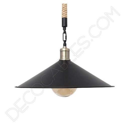 Lámpara colgante de soga 1xe27 plato grande negro cuerda de cáñamo