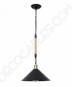 Lámpara colgante de soga 1xe27 plato mediano negro cuerda de cáñamo