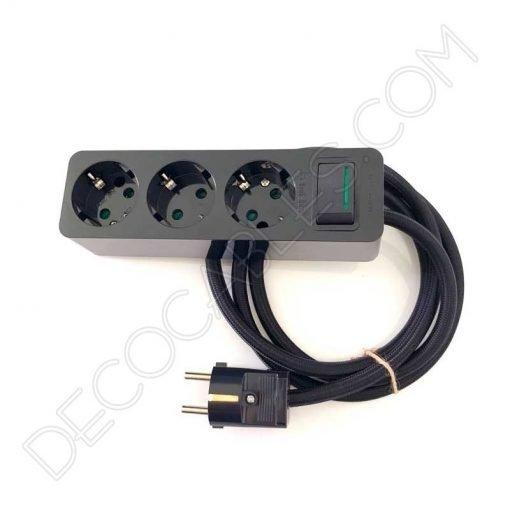 Base múltiple alargadera con interruptor y cable textil