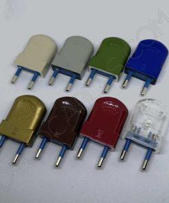 Clavija bipolar modelo vintage para lámparas en varios colores