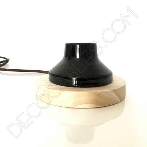 Lámpara de sobremesa de madera y porcelana vintage