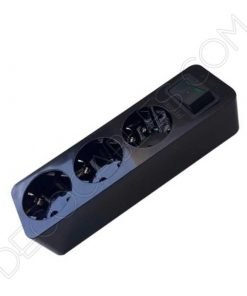 Regleta base múltiple negra con toma de tierra con interruptor general