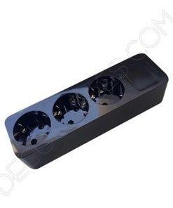 Regleta base múltiple negra con toma de tierra sin interruptor general
