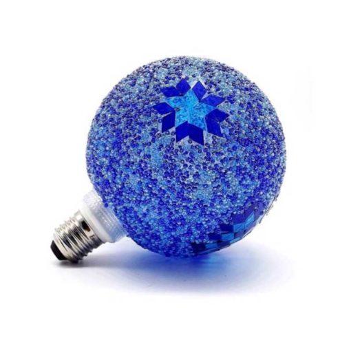 Bombilla decorativa led globo cristal craqueado azul