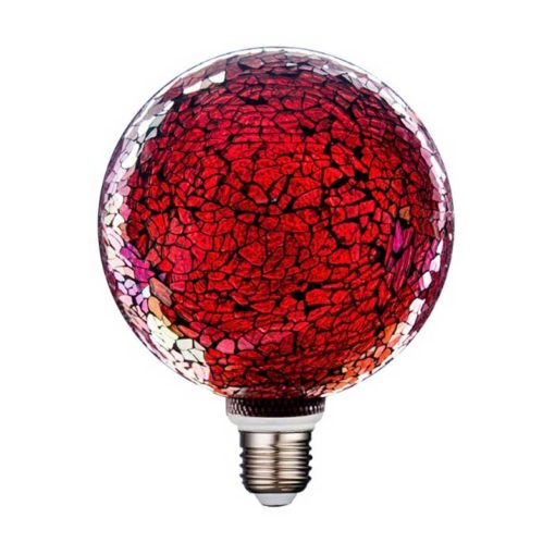 Bombilla decorativa led globo cristal craqueado roja