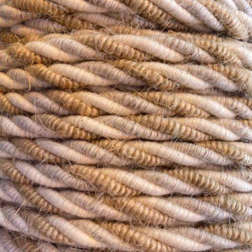 Cable eléctrico trenzado de yute lino y algodón 3x0,75